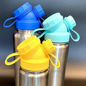 3er Set zum Vorteilspreis: JuNiki´s®  eco line isolierte Edelstahl Trinkflasche 3 Größen mit farbigen Deckeln Blau, Türkis, Gelb - JN JuNiki's