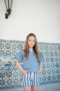 Leinen-Baumwolle Shorts Cloud gestreift - Peter Jo Kids