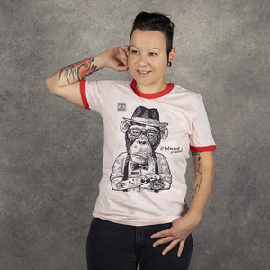 "T-Shirt ""Toleranz"", Be more like a Bonobo. Unisex, rosa/rot - WEARETHEFUCKINGLEADERS"