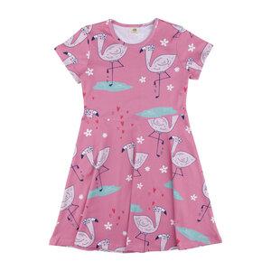Walkiddy Kleid Jersey Kurzarm Cute Flamingo Mädchen rose 100% Baumwolle (bio) - Walkiddy