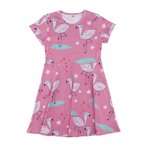 Walkiddy Kleid Jersey Kurzarm Cute Flamingo Mädchen rose 100% Baumwolle (bio) - Walkiddy