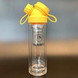 JuNiki´s® Tea to go Isoflasche aus Glas - handmade - mit Trinköffnung und 2 tlg. Teefilter - in 8 Farben - JN JuNiki's