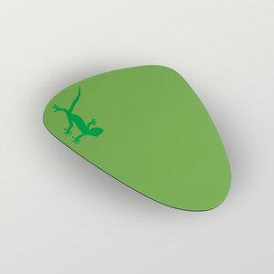 """Gecko"" Mousepad aus Recyclingleder Tropfenform - HANDGEDRUCKT"
