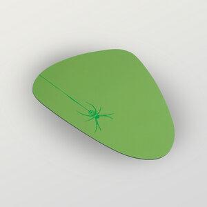 """Spinne"" Mousepad aus Recyclingleder Tropfenform - HANDGEDRUCKT"