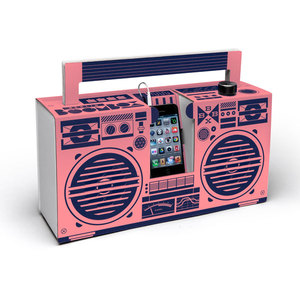 Ghettoblaster aus Pappe - Berlin Boombox in Pink - Berlin Boombox