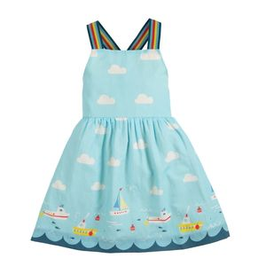 Frugi Wendekleid reversilbe dress bright sky clouds - Frugi