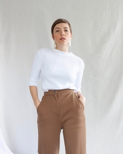 T-Shirt NINA gerippt weiß - JAN N JUNE