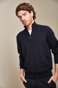 Strick-Pullover mit Zip aus 100% Alpakawolle - ALBERT KUNA Essentials - KUNA