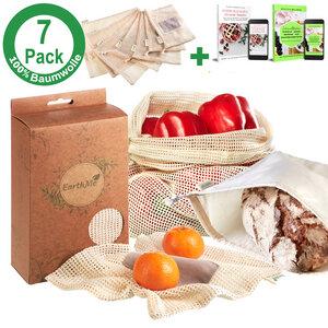 Gemüsebeutel & Obstbeutel + XL Brotbeutel, Obstnetz, Gemüsenetz 7Stck - EarthMe