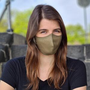 "Nachhaltige Stoffmaske ""Goodkarma"" Khaki, Größe M, 1+1 - Goodgive"