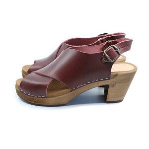 HÖST - schwedische Holz Clogs Sandale von me&myclogs - high mid heel - bordo - me&myClogs