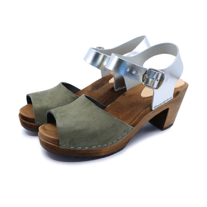 CLEO - schwedische Holz Clogs Sandale von me&myclogs - high mid heel  - me&myClogs