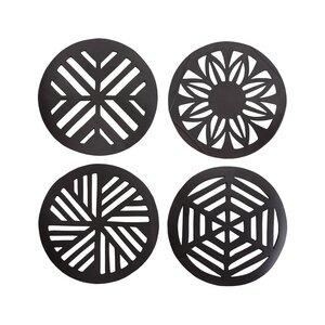 Geometric handgefertigte Untersetzer aus recyceltem Kautschuk - Paguro Upcycle