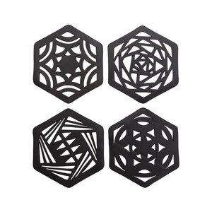 Hexagon handgefertigte Untersetzer aus recyceltem Kautschuk - Paguro Upcycle