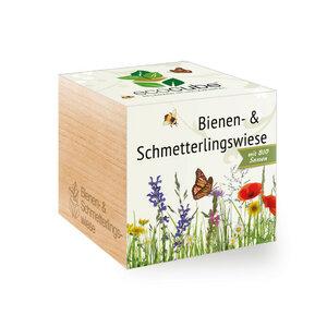 Bienen- & Schmetterlingswiese im Holzwürfel mit Bio-Samen - EcoCube