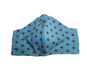 Mund- & Nasen- Maske / Behelfsmaske | (Kinder) rote Sterne auf eisblau Baumwolljersey (kbA) - Pat und Patty