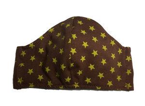 Mund- und- Nasen- Maske / Behelfsmaske | Kinder | gelbe Sterne auf braunem Baumwolljersey (kbA) bei PAT und PATTY - Pat und Patty