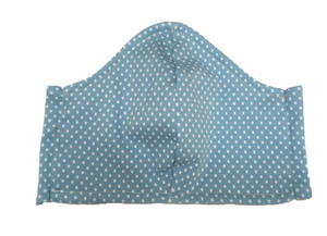 Mund- und- Nasen- Maske / Behelfsmaske | Kinder & Erwachsen | weisse Punkte/Dots auf hellblauem Baumwolljersey (kbA) bei PAT und PATTY - Pat und Patty