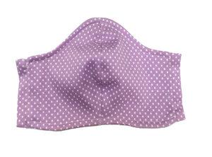 Mund- und- Nasen- Maske / Behelfsmaske | Kinder & Erwachsen |weisse Punkte/Dots auf flieder Baumwolljersey (kbA) bei PAT und PATTY - Pat und Patty