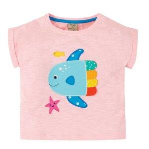 Frugi Slub T-Shirt Regenbogenfisch soft pink - Frugi