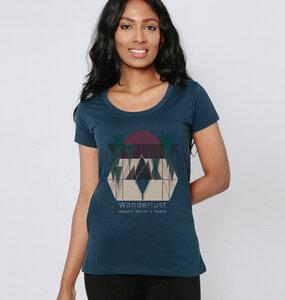 """Damen T-Shirt aus Bio-Baumwolle """"Wanderlust"""" in Blau, Khaki oder Weiss - BeMoreMaverick"""