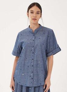 Bluse aus Bio-Baumwolle mit Stehkragen - ORGANICATION