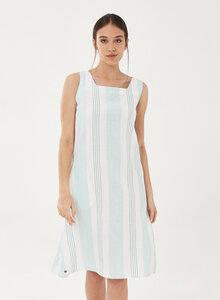 Kleid aus Leinen-Mix mit Längsstreifen - ORGANICATION