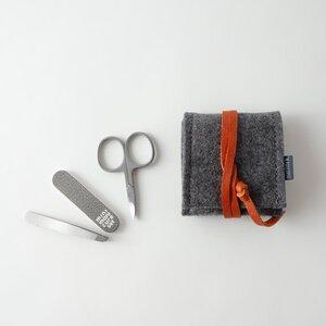 mini-maniküre-set 'ella' aus Filz dunkelgrau - matilda k. manufaktur