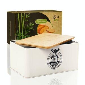 Brotbox / Brotkasten - Stigby - 33x21x16,5cm mit Bambus-Schneidebrett | Brotbehälter Brotdose - Bambuswald
