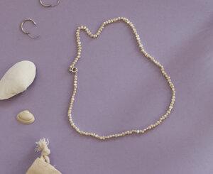 Perlenkette short - stahlpink