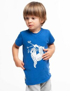 Eukalyptus T-Shirt Ben | blau mit Druck - CORA happywear