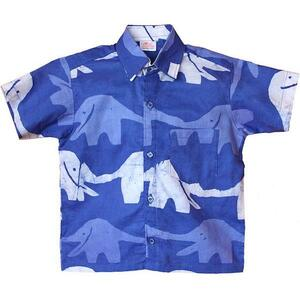 Bio Hemden für Jungs - Button Down Shirt - Elephants & Turtles - Global Mamas