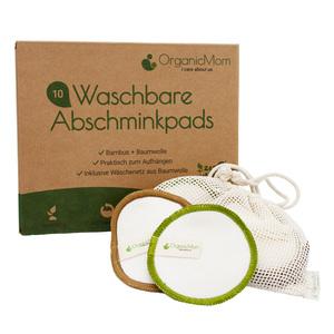 12 Waschbare Abschminkpads aus Bambus in 2 Farben / inkl. Waschbeutel aus Baumwolle - OrganicMom
