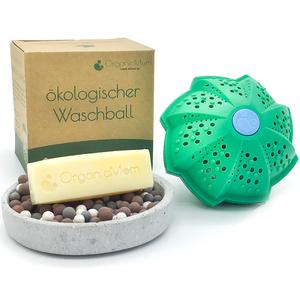 Öko-Waschball inkl. veganer palmölfreier Fleckenseife (handgemacht)/ Waschen ohne Waschmittel/ Waschkugel Antibakteriell/Für Babys, Kinder und Allergiker geeignet/BPA Frei  - OrganicMom