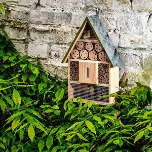 Ökologisches Insektenhaus mit Metalldach | Bienenhotel Insektenhotel Nützlingshotel - Bambuswald