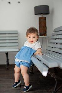 Hemd Grace + kurze Hose Gigil Blue Lagoon aus Bio-Musselin-Baumwolle  - Peter Jo Kids