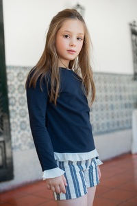 Shirt Candy aus Bambus + Leinen Shorts Cloud - Peter Jo Kids