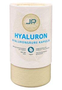 Hyaluronsäure Kapseln mit 400mg Hyaloronsäure und zusätzlich reines Vitamin C, Vitamin B12 und Zink - 100% Plastikfreie Verpackung – Für schöne Haut, Anti-Aging und Gelenke - JP.natural