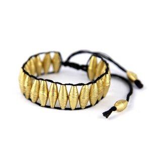 Stretcharmband aus goldenen Papierperlen | Armband - Mitienda Shop