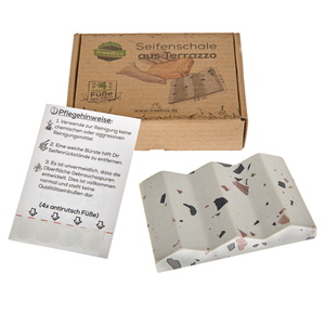 TreeBox Seifenschale aus edlem Terrazzo – Inkl. 4 Antirutschfüßen aus Silikon - TreeBox