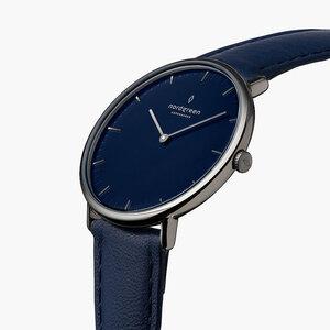 Armbanduhr Native Anthrazit | Blaues Ziffernblatt - Lederarmband - Nordgreen Copenhagen