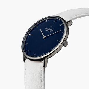 Armbanduhr Native Anthrazit   Blaues Ziffernblatt - Lederarmband - Nordgreen Copenhagen