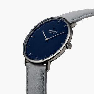 Armbanduhr Native Anthrazit | Blaues Ziffernblatt - Veganes Leder - Nordgreen Copenhagen