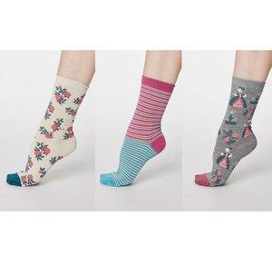 3er Pack Blumen/ Streifen Socken - Matthia Sock Pack - Thought