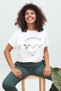 Liberation for all Damen T-Shirt aus Bio-Baumwolle I Veganer T-Shirt I Woman of Vegan weiß/schwarz - Woman of Vegan