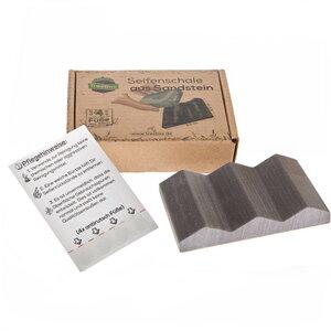 TreeBox Seifenschale aus edlem Sandstein – Inkl. 4 Antirutschfüßen aus Silikon - TreeBox