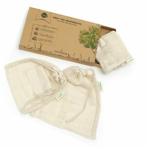 TreeBox Einkaufsnetze für Obst und Gemüse aus 100% Bio-Baumwolle im 3er Set - TreeBox