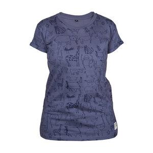 "Gemustertes Damen T-Shirt aus Bio-Baumwolle ""Wanyama"" charcoal grau - Kipepeo-Clothing"