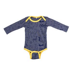 "Langarmbody Baby Body aus Bio-Baumwolle ""Wanyama"" charcoal grau - Kipepeo-Clothing"