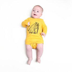 "Langarmbody Baby Body aus Bio-Baumwolle ""Leopard"" gelb - Kipepeo-Clothing"